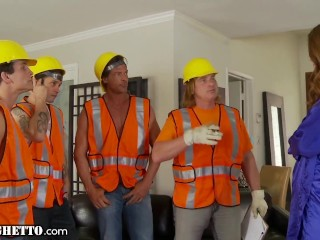 WhiteGhetto Horny Housewife Gangbanged by Couction Workers alan stafford, Evan Stone, Jenna Justine, Nick Manning