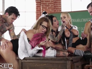 WickedPictures Classroom Orgy Led By Teacher Anna Bell Peaks, Jessica Drake, Lily Lane, Sarah Jessie