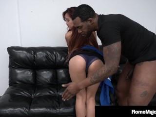 US Asian Elle Voneva Gags On Big Black Cock Rome Major!