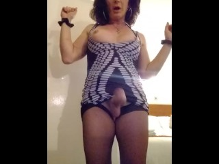 Whore playing again with her tits with his...