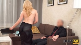 Debt4k. Blonde angelface turns into a whore for some
