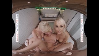 Naughty America – 3 babes share a big cock at the spa