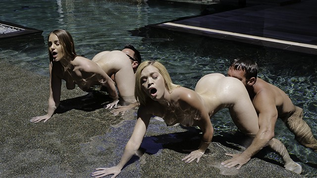 Outdoor pool sex group orgy movie - Bisexual daughters swap dads in a pool orgy