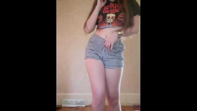 Teen strip dances -bad guy by billie eilish- amateur brunette dances and strips to nude