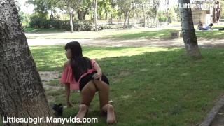 Daring Asian Flashing and Fucking Her Ass in Public!