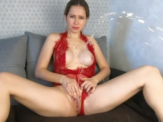 Fingering my wet pussy in red lingerie CatherineRain