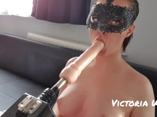 Sex machine fuck masked girl in mouth 60fps 4k