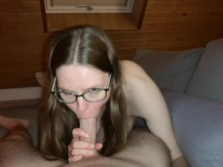 German Teen PAWG With Glasses Blows Big Cock And Swallows Cum