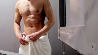 Publlic sauna locker-room tease