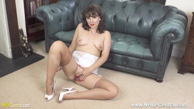 Milf open Brunette milf in open vintage girdle sheer nylons legs open for pussy play