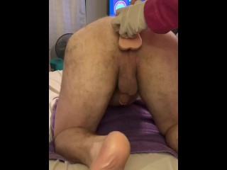 Husband takes dildo and vibrator before wife's fist