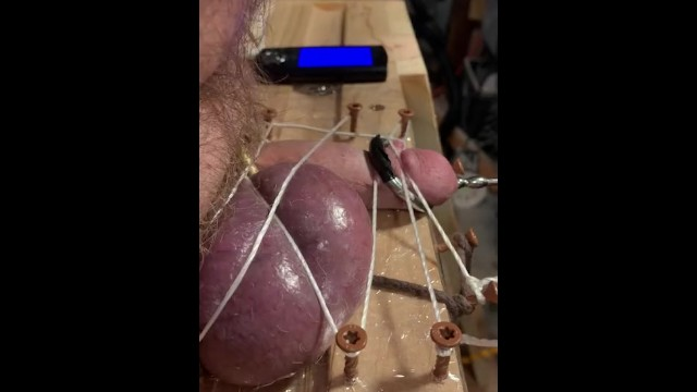 Chubby ten stripping vieod - Cbt: purple balls, restrained cock, tens, and hot wax