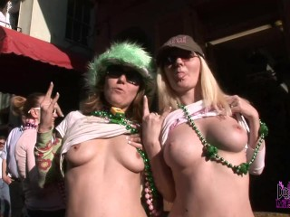 Daytime Party Girls Earn Beads For Boobs At Mardi Gras