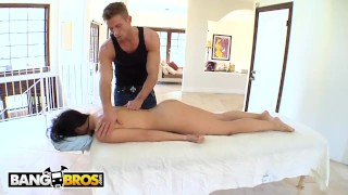 Screen Capture of Video Titled: BANGBROS - Asian Pornstar Katsuni Gets Sensual Massage