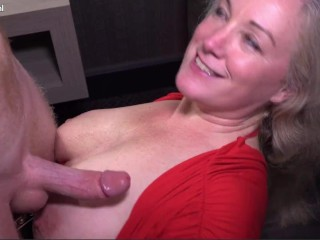 Mature Chubby Big Ass Milf Gets Cum on her Big Tits from a Young Big Dick