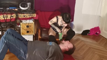 Slim goth domina feeding her slave mouth to mouth pt2 HD