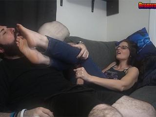 Slutty Mom Christina Sapphire Gives a Foot Smothering Handjob w Cumshot