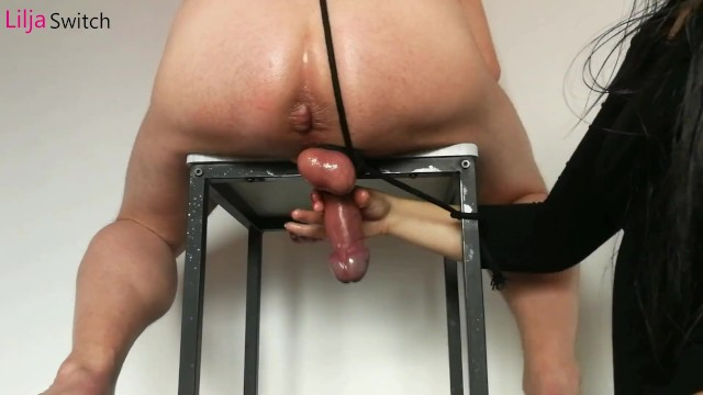 Cock milkimg - Cock milking constriction with roped balls - milking liljaswitch