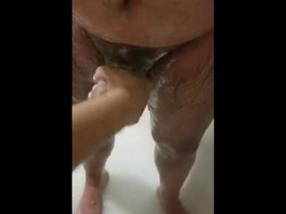 Step mom washing step son cock in the bathroom till cums on her hands