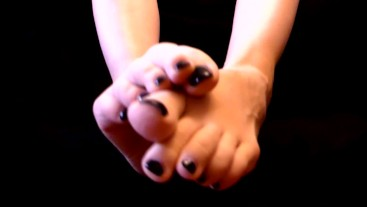 Beautiful feet with long toes and black nails - foot fetish from Lady_F
