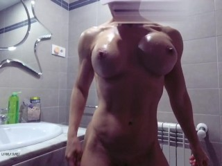 She flexs & warms her body while she takes a hot shower, squirting sex anal