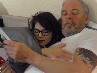 Young beauty with glasses fucked hardcore by grandpa