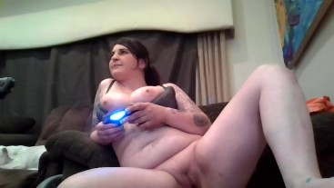 sexy stoner gamer girl smoking playing Witcher3 Dildo sucking & pussy play