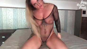 College girl in glasses fishnet teasing and pussy flashing