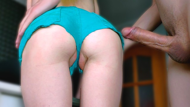Sexy short haired blondes Petite girl in denim shorts gets a big dick in a tight ass - amateur 4k