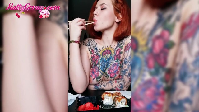 Naked women tits Horny tattooed girl eats naked and plays with tits - solo