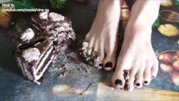 1. Crush Cake with Bare Feet to Feed Footslave - Nina Yo