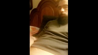 Full Porno - Hot Muscular Bearded Guy Jerking His Huge Dick And Moaning