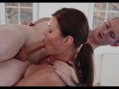 Lifted and Blowjobbed! Strong girl dominates poor guy