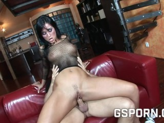 Sexy brunette double fucked
