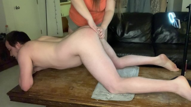 She spanked him hard - My girlfriend spanks, fingers rims me pushes my cum into my ass
