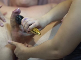 Prostate Massage Cum And Wand Pleasure with Post Orgasm Torture