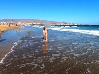 Public nudity teen walking naked on the beach Amateur MiaAmahl
