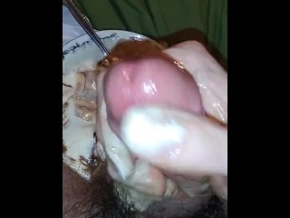 Stroking My Big Cock With Ice Cream Part
