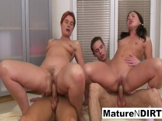 Hot and horny mature slut gets DP'd in a foursome