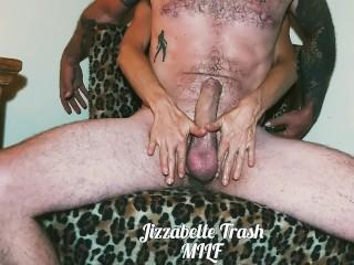 Trash MILF reach around ball squeezing big cock handjob post cum torture