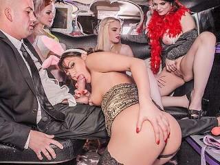 Suzy Rainbow Ella Hughes Lucia Love and Carly Rae go wild in a limousine Ella Hughes, Lucia Love, Suzy Rainbow