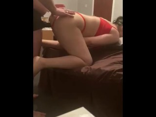Step son can't fit dick into step mom pussy – fuck through red panties