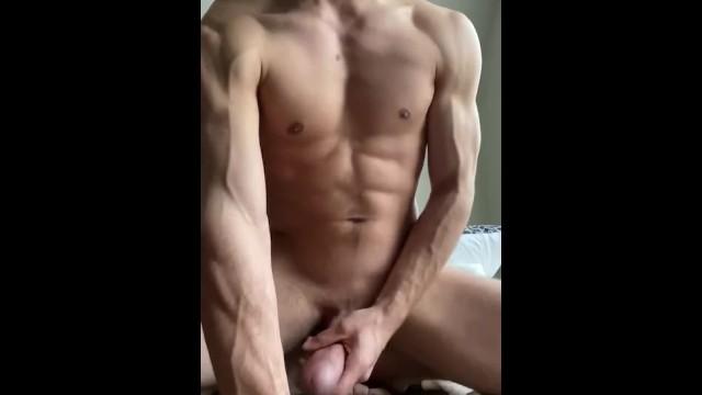Solo male masturbation - Ripped dude strokes thick cock