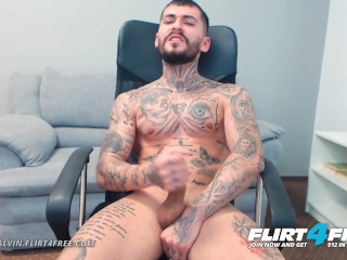 Tony Calvin on Flirt4Free - Tatted Up Ripped Stud Jerks Off Huge Uncut Cock