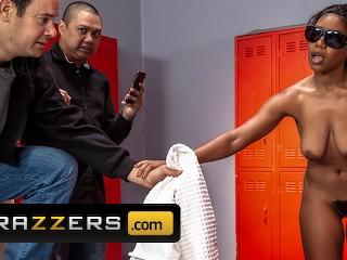 Brazzers Ebony Jenna Foxx takes white dick in the shower Xander Corvus