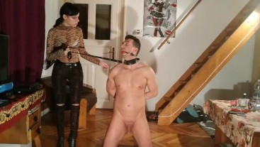 Sexy goth domina train & torture her gagged slave HD FULL
