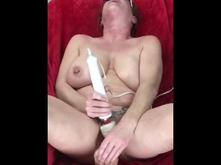 Big tit mom has real orgasm! Licks dildo clean
