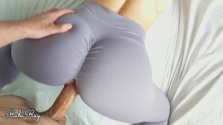 Screen Capture of Video Titled: Fit Babe Gets Huge Dripping Creampie While Working Out At Home