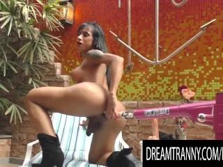 TS Renata Farias Couldnt Resist Shoving a Machine Powered Dildo up Her Ass