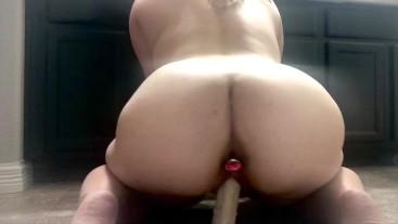 Amateur Slut Fucks Dildo With Butt Plug